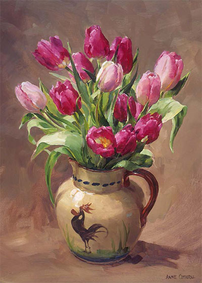 Tulips in a Torquay Rooster Jug - blank greetings card by Anne Cotterill