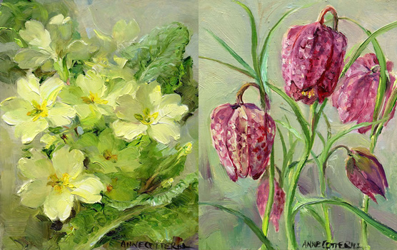 Primroses / Fritillaries small note cards by Anne Cotterill Flower Art