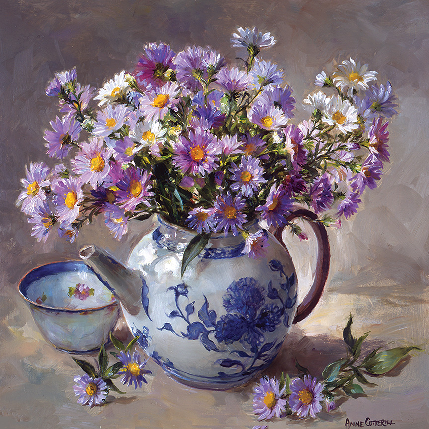 Michaelmas Daisies. Greetings Card C-0059