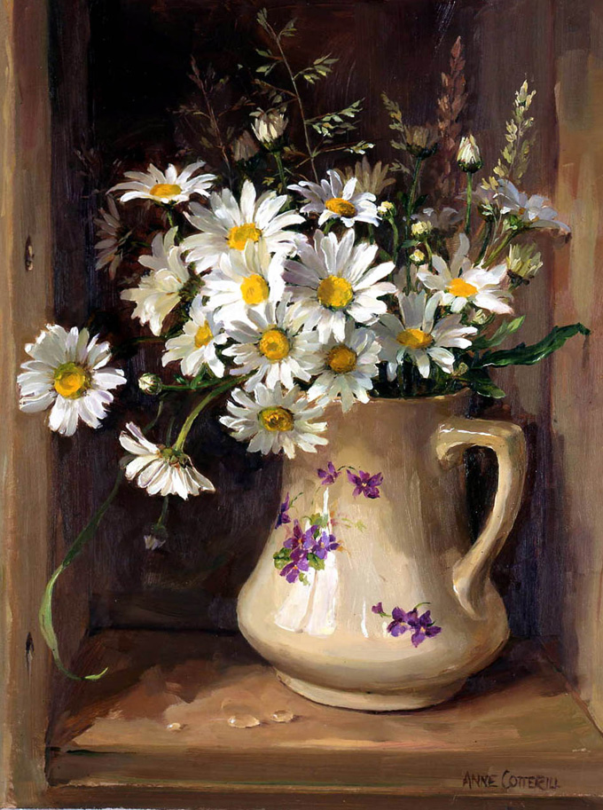 Oxeye Daisies with Grasses. Greetings Card A-R062