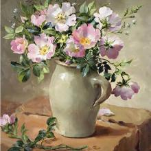 Briar Roses in a Stone Jug - Blank or Birthday Card by Anne Cotterill Flower Art