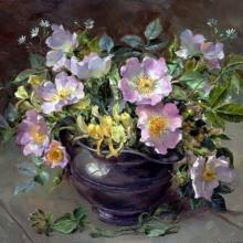 Briar Roses in Pewter - Blank Card by Anne Cotterill Flower Art