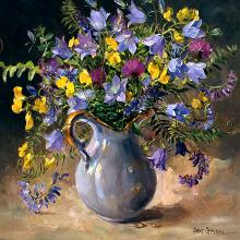 Harebells in a Blue Jug - Blank Card by Anne Cotterill