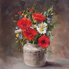 Poppies with Oxeye Daisies - flower art card by Anne Cotterill