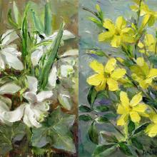 Winter Jasmine and Double Snowdrops note cards by Anne Cotterill Flower Art
