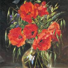 Field Poppies - Birthday Card by Anne Cotterill Flower Art