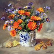 Marigolds with Asters - Birthday Card by Anne Cotterill Flower Art