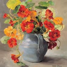 Nasturtiums - Blank Card by Anne Cotterill Flower Art