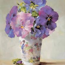 Blue Pansies - Blank Card by Anne Cotterill Flower Art