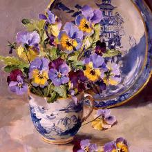 Pansies with Willow Pattern Plate - Blank or Birthday Card by Anne Cotterill Flower Art