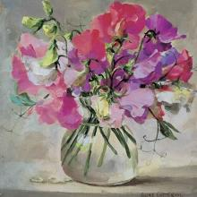 Sweet Peas blank card by Anne Cotterill Flower Art
