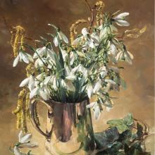 Snowdrops in a Silver Jug - Flower Card by Anne Cotterill
