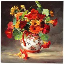 Notebook Marigolds and Nasturtiums - Anne Cotterill Flower Art