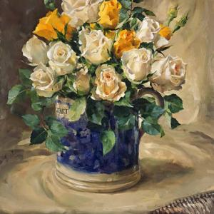Roses in a Quart Mug - greetings card by Anne Cotterill