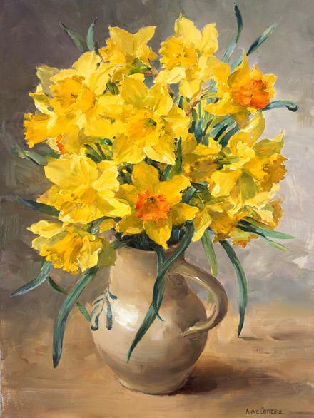 Daffodils - Greetings Card by Anne Cotterill