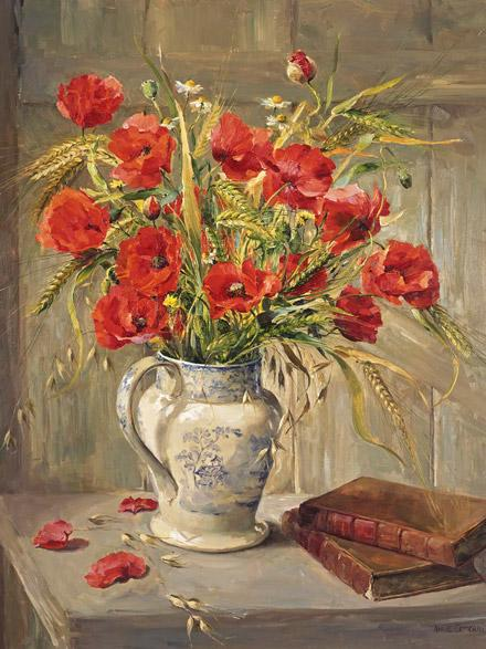 Poppies with Books - greetings card by Anne Cotterill