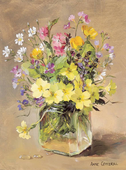 April Flowers - Blank Card by Anne Cotterill