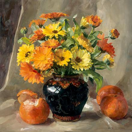 Marigolds with Oranges - flower art card by Anne Cotterill
