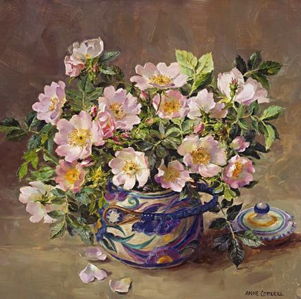 Wild Roses in the Bluebird Pot - blank card by Anne Cotterill