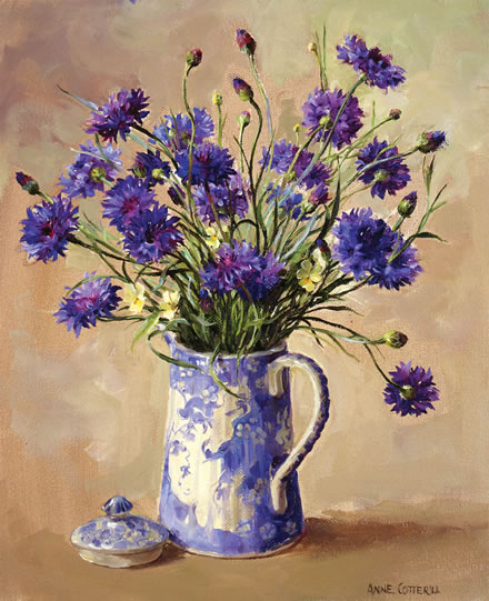 Cornflowers Limited Edition Print Mill House Fine Art Publishers Of Anne Cotterill Flower Art