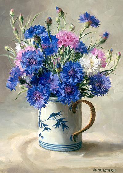 Cornflowers - flower art card by Anne Cotterill