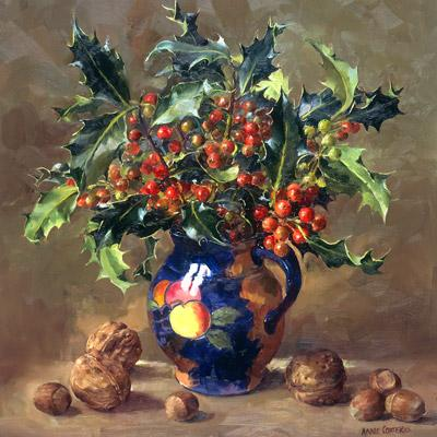 Holly, Walnuts and Hazels - flower card by Anne Cotterill