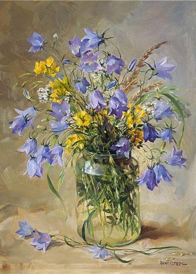 Harebells in a Jam Jar - Flower Card by Anne Cotterill