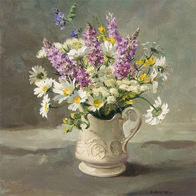 Orchids with Oxeye Daisies - flower card by Anne Cotterill
