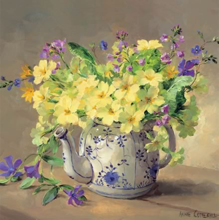 Primroses in a Teapot - blank card by Anne Cotterill Flower Art