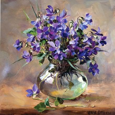 Purple Violets blank greetings card by Anne Cotterill Flower Art