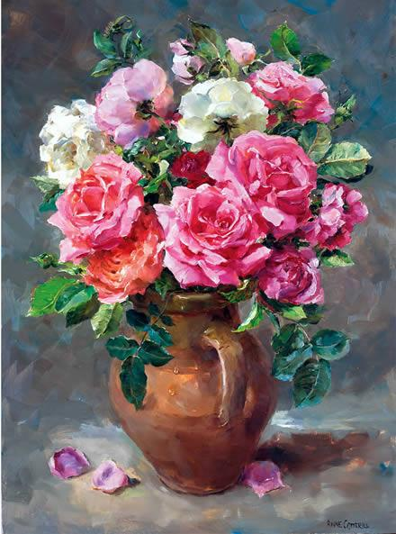 Roses in a Stoneware Jug - Birthday Card by Anne Cotterill