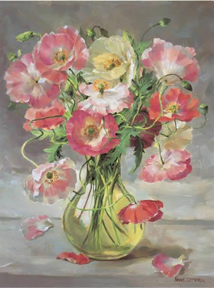 Shirley Poppies - Birthday Card by Anne Cotterill