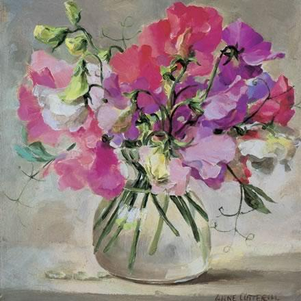 Sweet Peas - Birthday Card by Anne Cotterill Flower Art