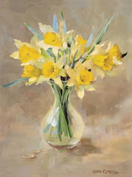 Wild Daffodils Blank Card Mill House Fine Art Publishers Of Anne Cotterill Flower Art