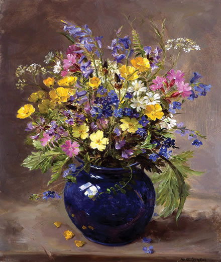 Wild Flowers In A Blue Vase Signed Print Mill House Fine Art