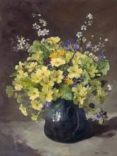 Blackthorn with Primroses - flower card by Anne Cotterill