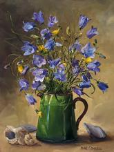 Harebells with Shells - Flower art card by Anne Cotterill