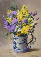 Toadflax with Scabious - Flower card by Anne Cotterill