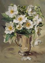 White Japanese Anemones - blank card by Anne Cotterill