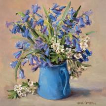 Bluebells - Blank Greetings Card  by Anne Cotterill Flower Art