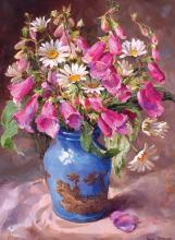 Foxgloves and Daisies - Birthday Card by Anne Cotterill