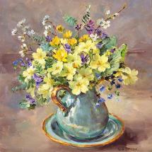 Primroses in a Turquoise Jug - Birthday Card by Anne Cotterill