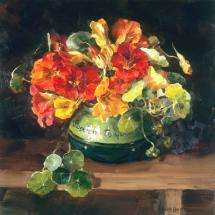 Small square flower greetings card, depicting nasturtiums in a sugar bowl