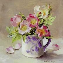 Dog Roses - Blank Card by Anne Cotterill Flower Art