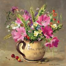 Musk Mallows and Harvest-Time Flowers - Blank Card by Anne Cotterill