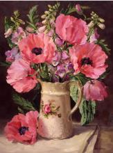 Oriental Poppies flower card, blank or birthday. From the original oil painting of Anne Cotterill.