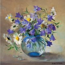 Oxeye Daisies with Harebells - Blank Card