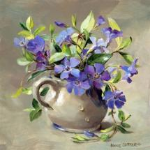 Periwinkles - Blank Card by Anne Cotterill Flower Art