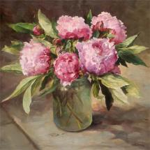 Pink Peonies - blank greetings card by Anne Cotterill