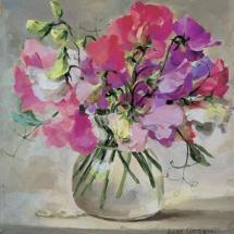 Sweet Peas blank card by Anne Cotterill Flower Art